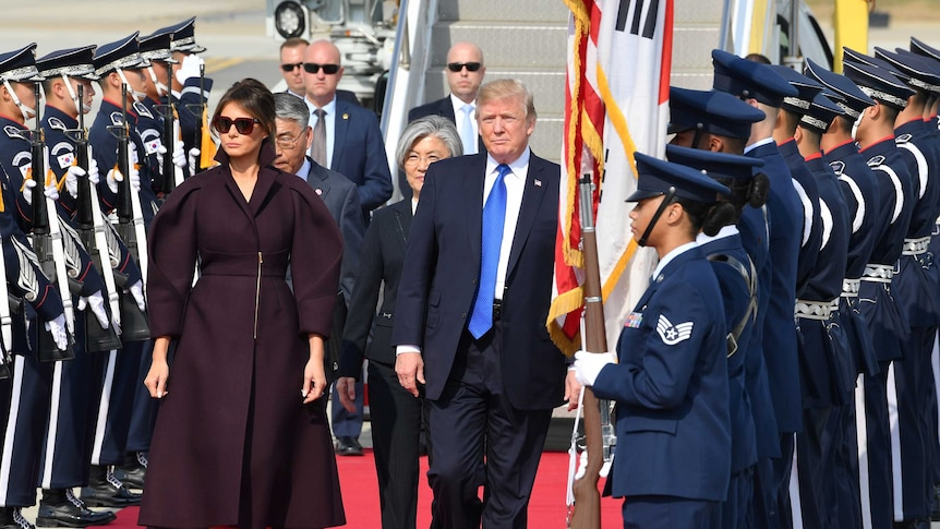 Donald Trump and First Lady Melania are visiting South Korea as the second leg of their five-nation trip.