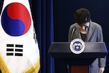 PresidentParkGeun-hyebows during an address to the nation.