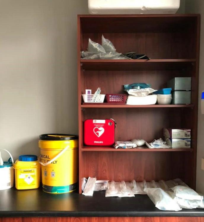 Nowra GP Kate Manderson's setup at a bushfire evacuation centre.