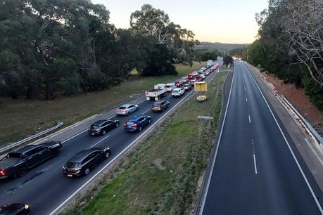 Traffic banked up on the South Eastern Freeway.