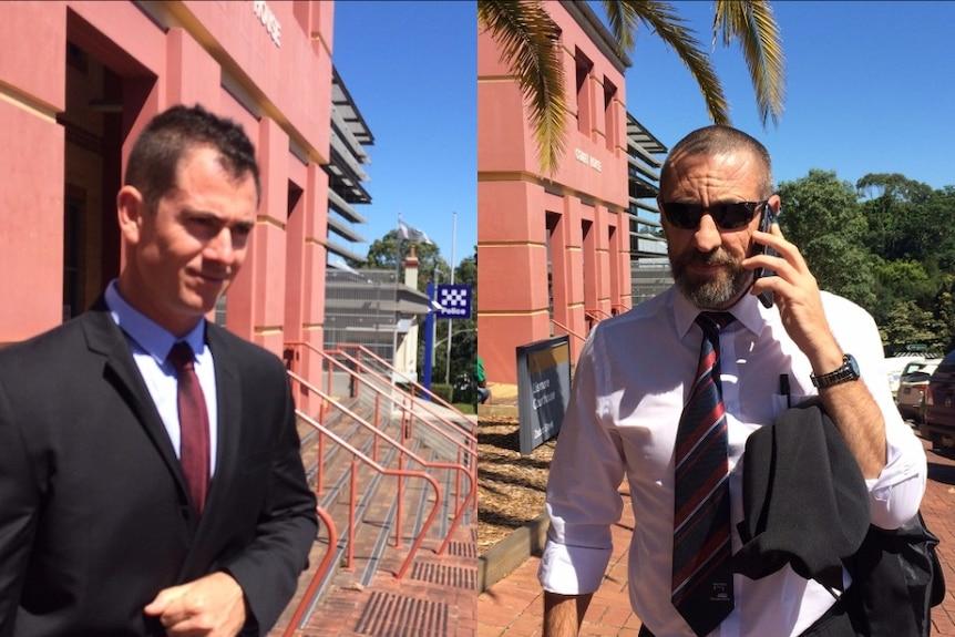 Senior constables Brian Quinn and Michael Writer leave Lismore Court