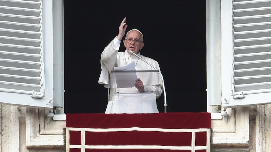 Pope Francis delivers the sunday's Angelus prayer