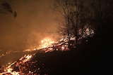 A night shot shows the glowning flames and embers in bush near Cobraball, Yeppoon