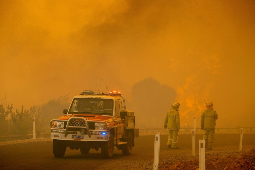 Two firefighters near a four-wheel drive emergency services vehicle look on as a bushfire rages near a road.