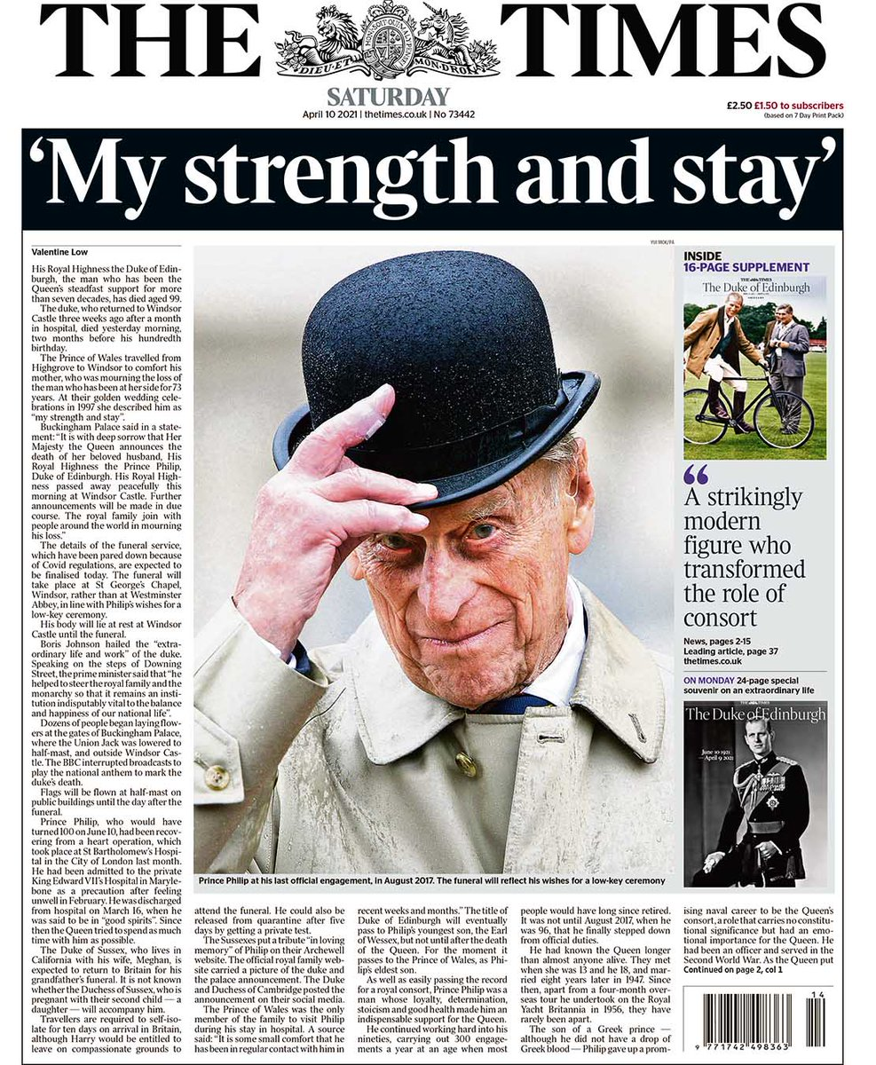 The front page of the UK newspaper The Times the day after the death of Prince Philip.