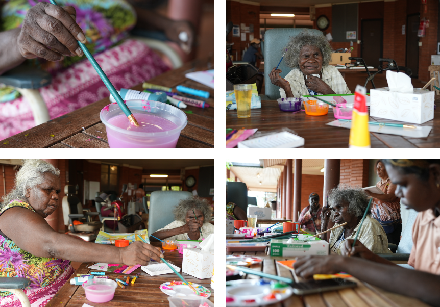 Aboriginal women take part in a craft session at an aged care facility