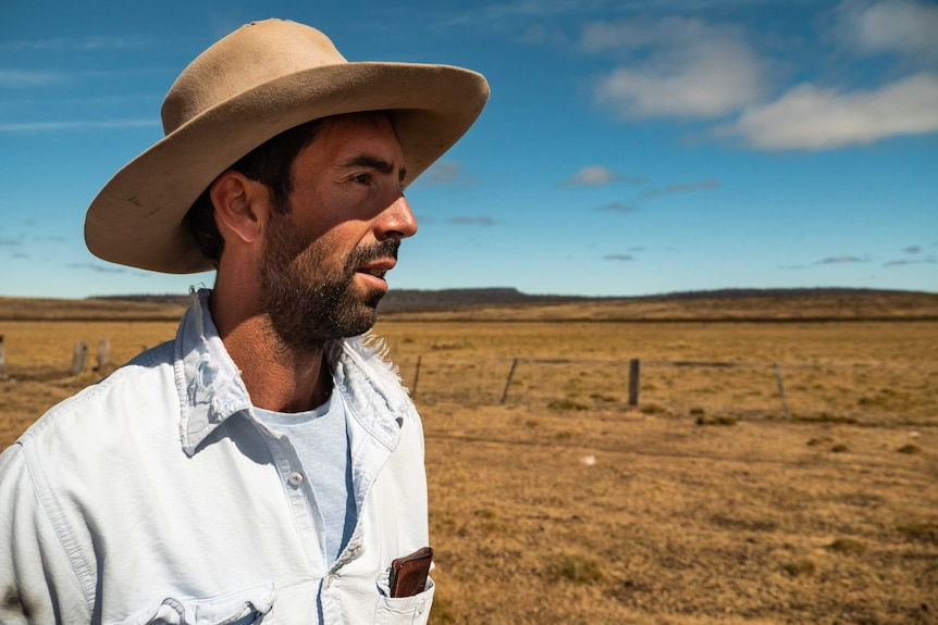 Farmer James Downie looks over his grazing property on the Central Plateau.