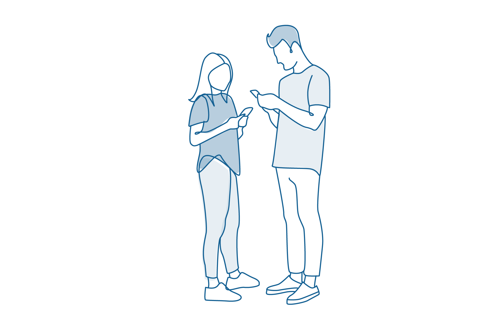 Line drawing of man and woman holding phones.