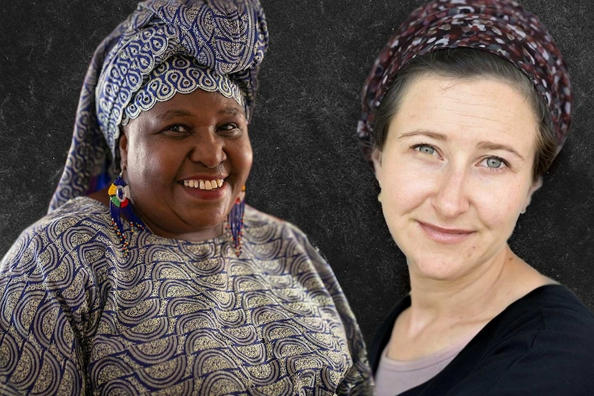 Rosemary is on the left with a Kenyan headdress on and a big smile. Ellyse is on the right, also wearing a headscarf.