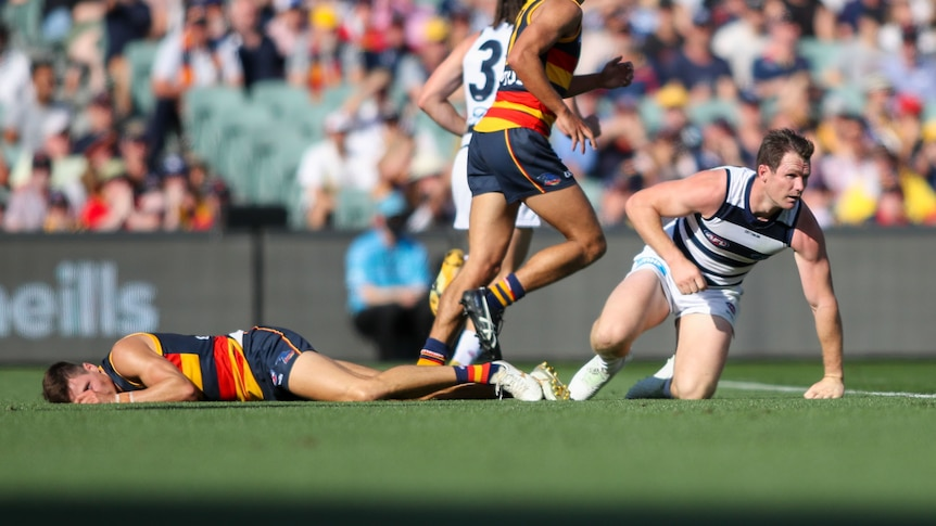 Geelong Cats' Patrick Dangerfield gets up as Adelaide Crows' Jake Kelly lies on the ground after a clash during an AFL game.