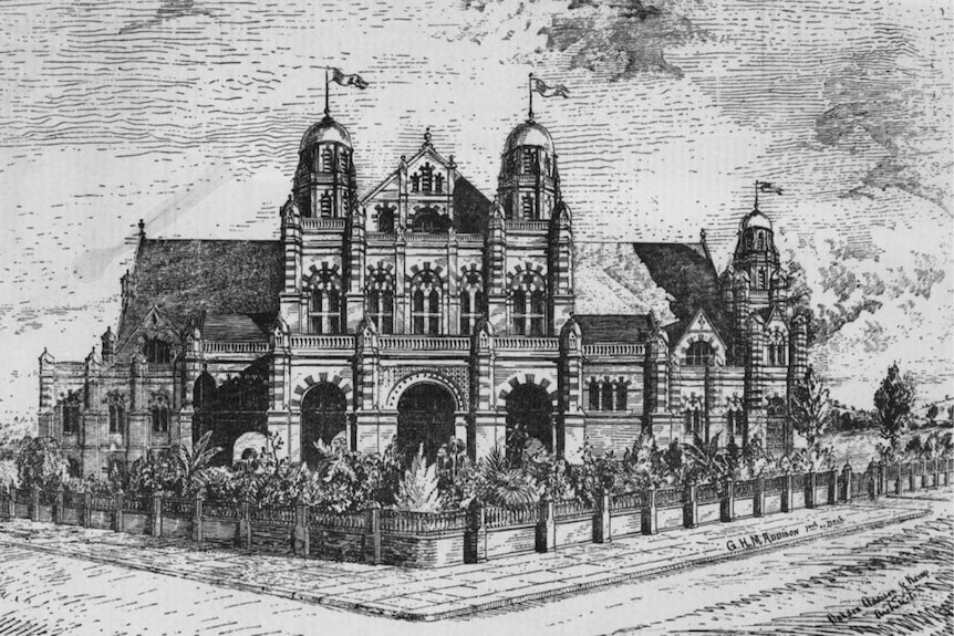 An illustration of a large brick building.