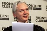 WikiLeaks founder Julian Assange speaks at a news conference.