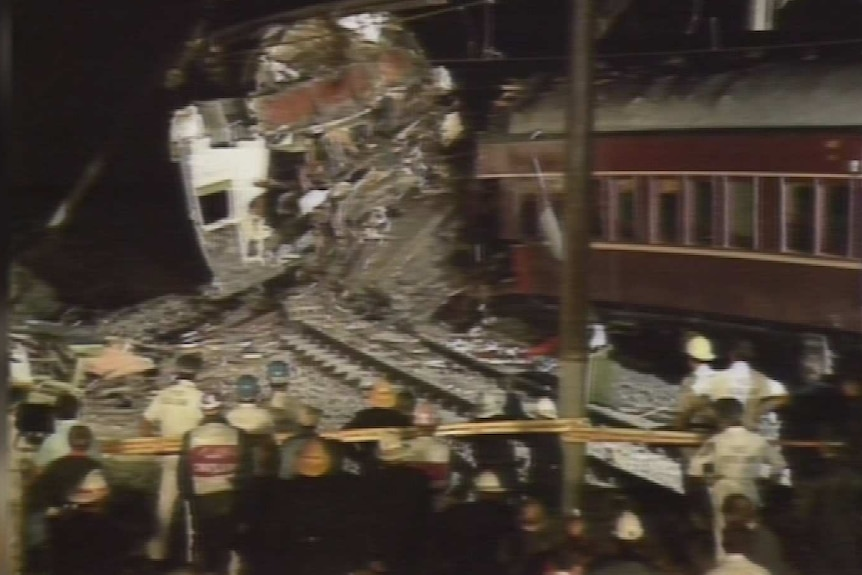 a still image of news footage showing the crash scene