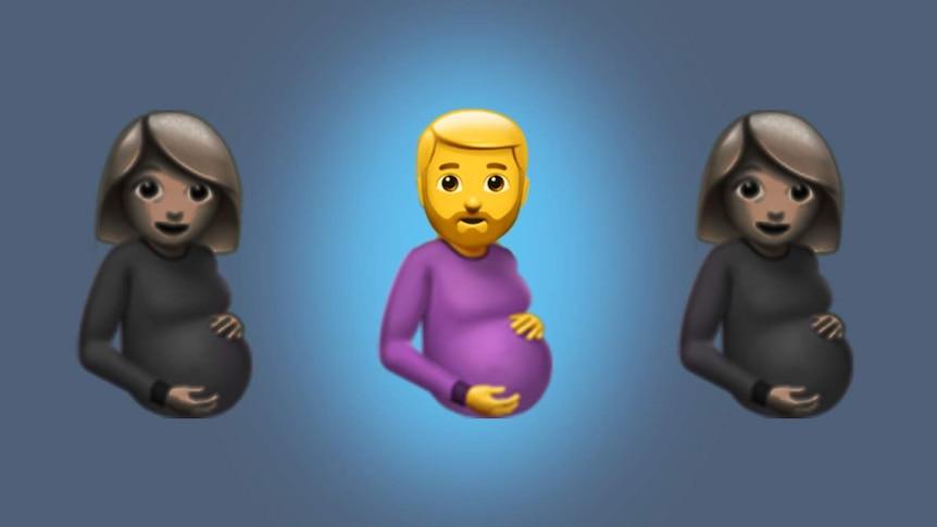 Two pregnant women emoji and a pregnant man.