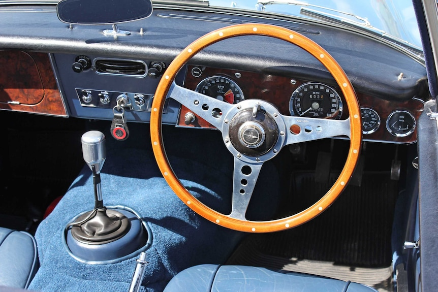 The handcrafted controls of the Austin Healey.