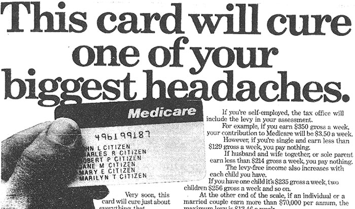 """The ad reads: """"This card will cure one of your biggest headaches."""""""