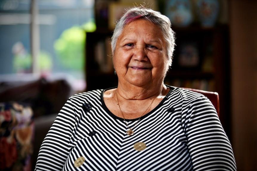 Portrait of Aboriginal elder Pat Waria-Readsmiling.