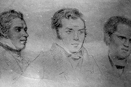 Old drawing of three men in suits