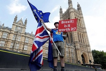 Brexit protestor out the front of Westminster
