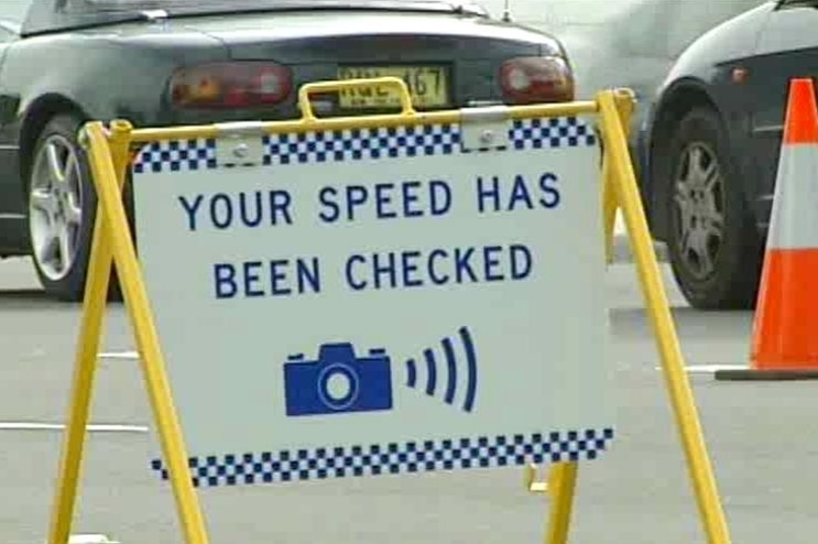 Mobile speed cameras signage.