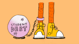 """An illustration shows a ball with """"student debt"""" written on it chained to a person's leg to depict paying back HECS debt."""