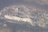 A completely destroyed building.