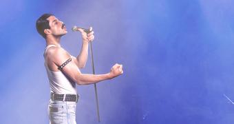 Colour still of actor Rami Malek as Freddie Mercury in 2018 film Bohemian Rhapsody.