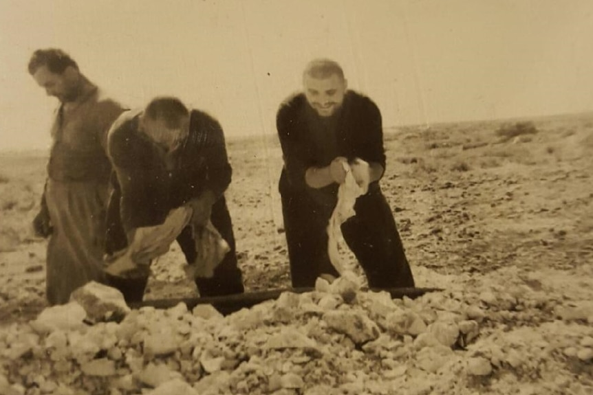 Dimitrious 'Jim' Mougris father at 8 mile opal field in 1958.