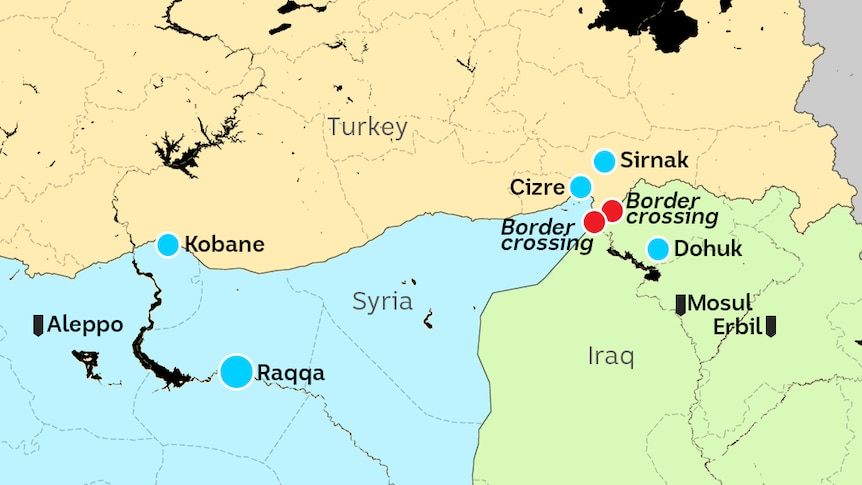 Map of Turkey, northern Syria and Iraq showing key towns and border crossings on way to Raqqa.