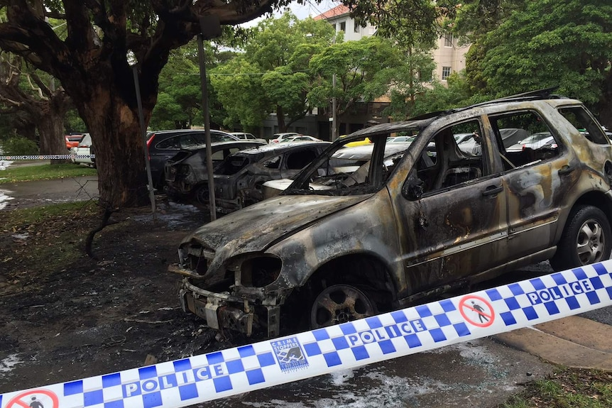 Cars burnt out in Bellevue Hill