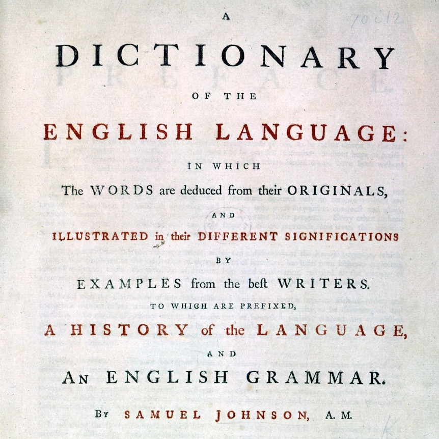 "Inner cover of dictionary, with text including 'A dictionary of the English language ... by Samuel Johnson""."