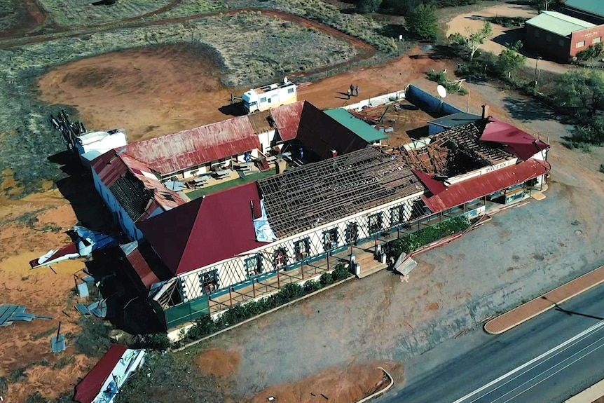A drone shot of a cyclone-damaged country pub