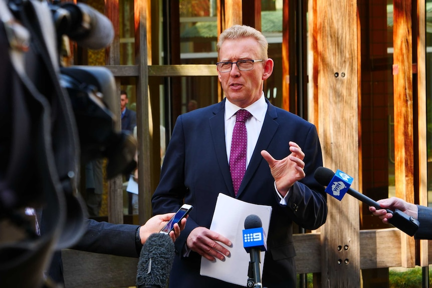 Mark Parton addresses the media outside the ACT Legislative Assembly.