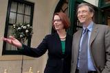 Julia Gillard receives Bill Gates at The Lodge.