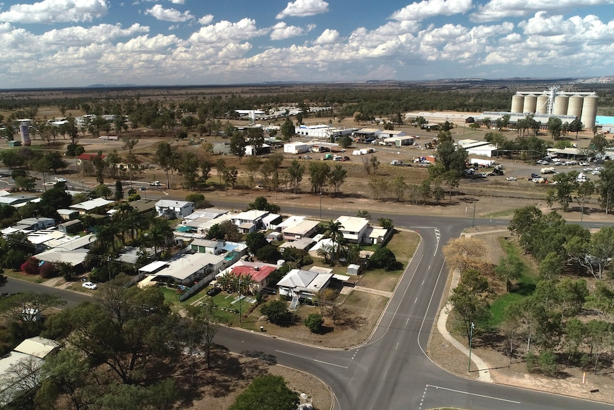Aerial of Moura in central Queensland