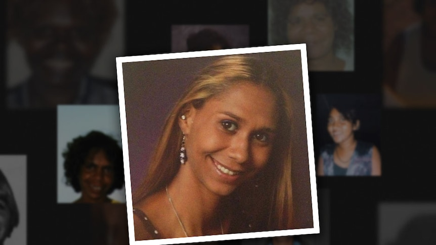 Black background with blurred photos of missing women, foreground photo of woman in her twenties with long hair, smiling.