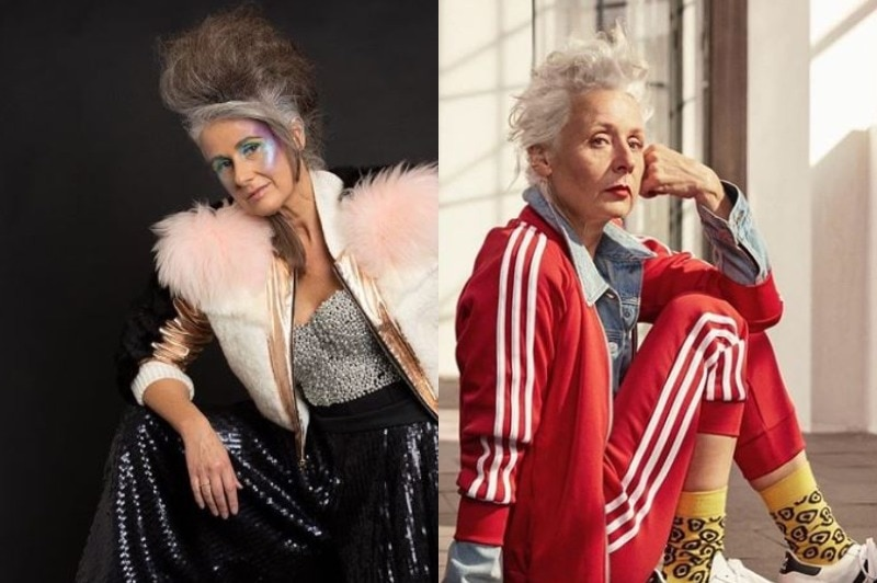 Lou Forbes wears a sparkly jacket with pink fluff. Sarah Jane Adams wears a red tracksuit with white stripes.