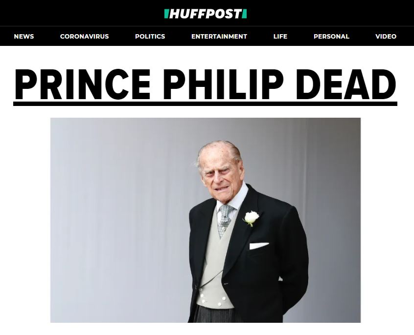 Huffington Post after the death of Prince Philip.