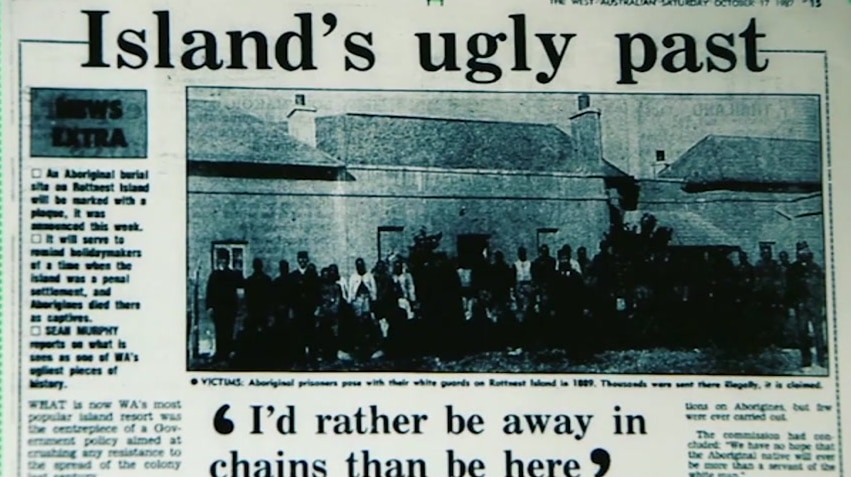 """A newspaper headline that reads """"Island's ugly past"""""""