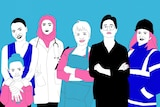 Illustration of a group of six women of different ethnicities and ages including a doctor, construction worker and hairdresser
