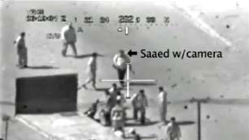 Video still of men walking through a Baghdad street before they were shot by US troops.