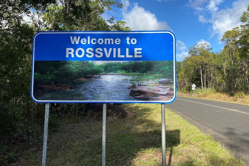 Rossville welcome sign in far north Queensland on 4 September, 2020.