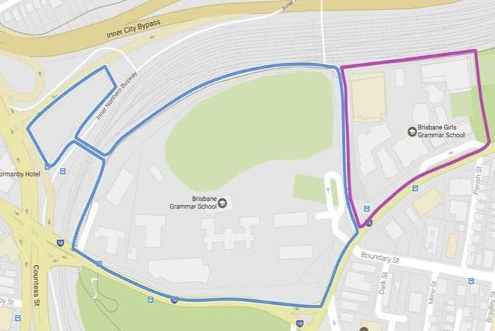 Brisbane Grammar School's campus is seen dwarfing that of the Brisbane Girls Grammar School.