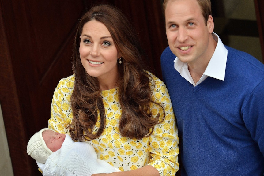 Duchess and Duke of Cambridge with new baby daughter outside hospital
