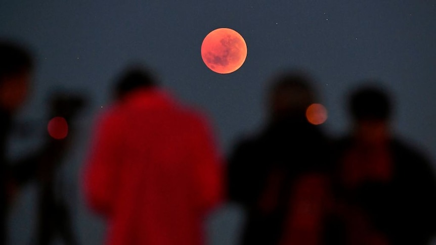 People looking at a blood red moon during a lunar eclipse