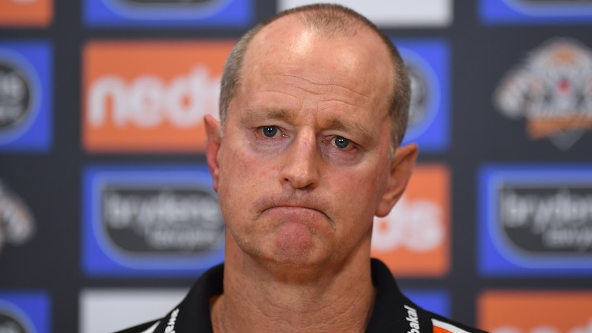 The Wests tigers NRL coach looks towards reporters during a media conference in 2021.