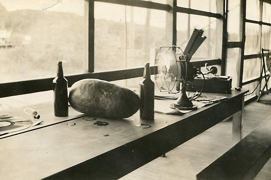 An aged sepia photo shows a small fan blowing onto a watermelon and two beers with a vinyl behind them.