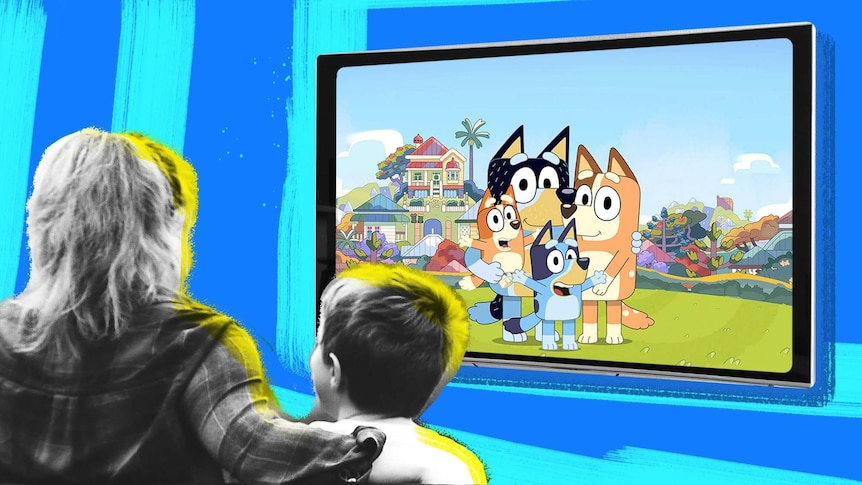 Illustration shows mum and son watching Bluey the animation on television