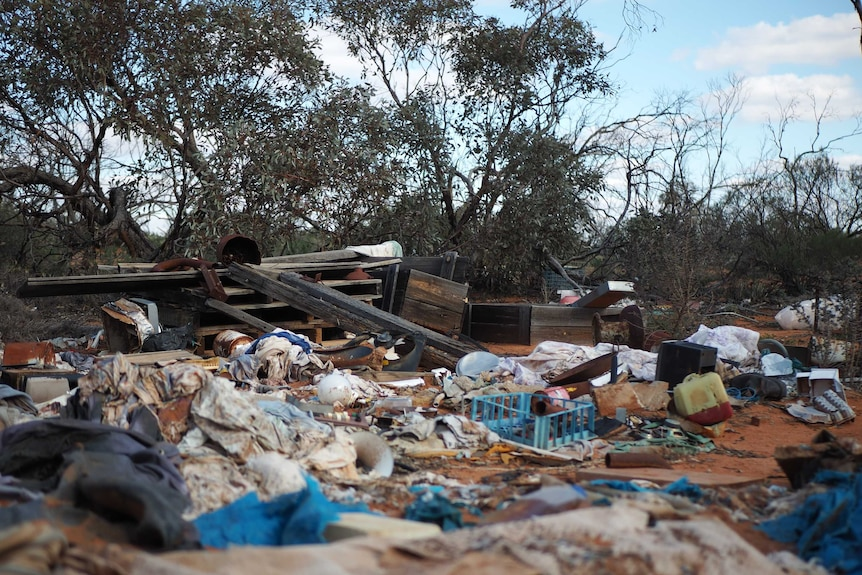 Wooden beams, old linen, plastic crates and other items litter shrub land in a national park.
