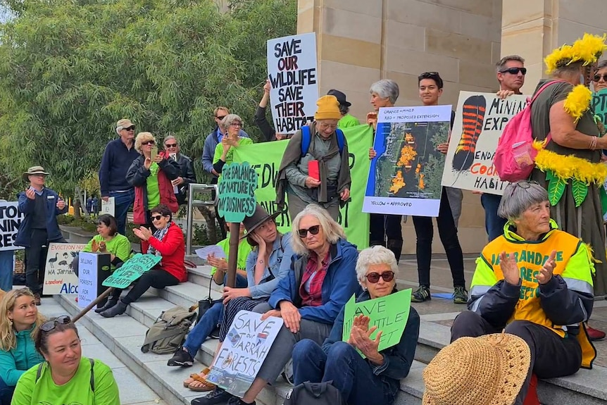 A group of people with bright coloured banners and posters in protest on the front steps of Parliament House.